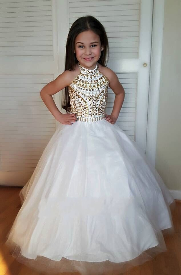 2017 White And Gold Girl Prom Dresscrystals Beaded Halter Ball Gown