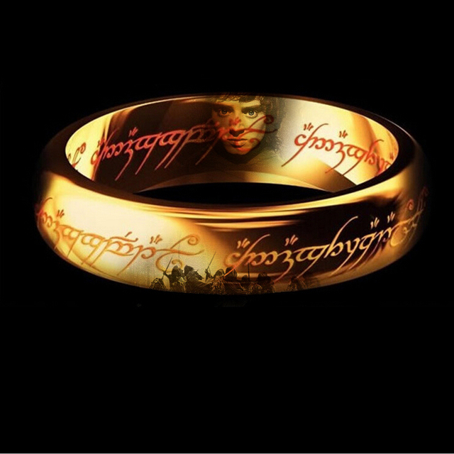 Classic Men Women LOTR Gold GP Wedding Band Ring Pendant Width 6mm Size 6-11 Gift Free shipping