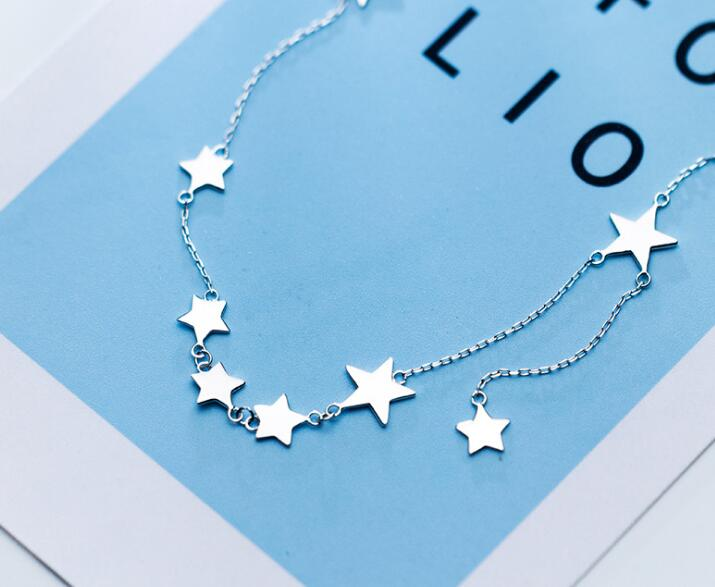 Image 3 - Women's 100% real 925 Sterling Silver Fine Jewelry Polished Stars Pendant Choker Short necklace GTLX1626-in Necklaces from Jewelry & Accessories
