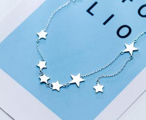 Image 3 - Womens 100% real 925 Sterling Silver Fine Jewelry Polished Stars Pendant Choker Short necklace GTLX1626