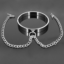 14cm Metal neck collar with nipple clamps for sissies and crossdressers