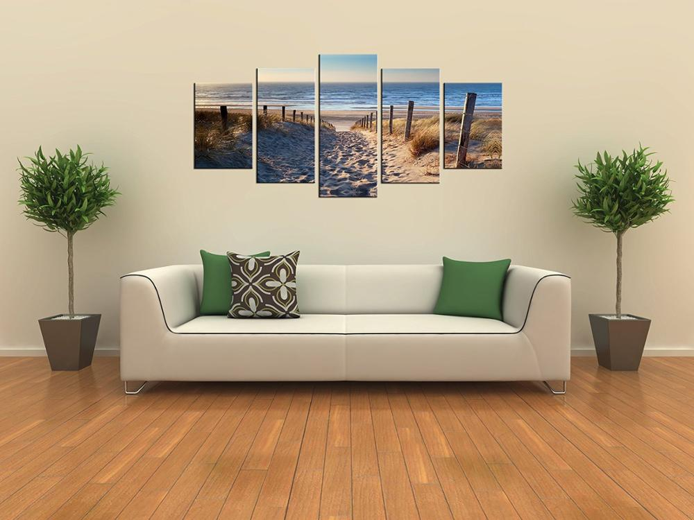 Canvas Prints Wall Art Beach Unframed Ready to Hang 5 Panels Beach Canvas Print Photo Canvas Art for Home Decoratio