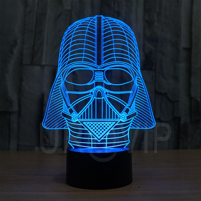 JC-2833  Amazing 3D Illusion led Table  Lamp Night Light with darth vader shape   (3)