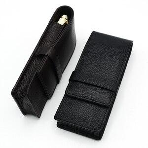 Image 2 - Pen Bag Pen Storage Pencil Bag Wancher Genuine Leather Fountain Pen Case Cowhide 3 Pen Holder Pouch Sleeve