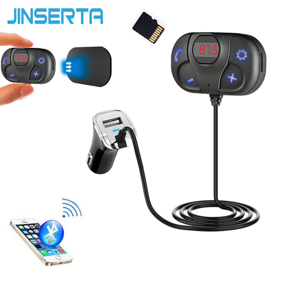 JINSERTA Magnetic Base Car Kit Wireless Bluetooth Handsfree FM Transmitter MP3 Music Player TF Slots USB Car Charger LED Display