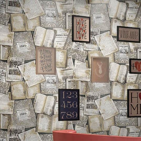 retro englisch alphabet tapete vintage alte zeitung tapete f r coffee bar wall 3 d frauen. Black Bedroom Furniture Sets. Home Design Ideas
