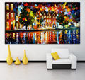 Palette Knife Painting Mediterranean Amsterdam Cityscape Architecture Picture Printed On Canvas For Home Office Wall Decor