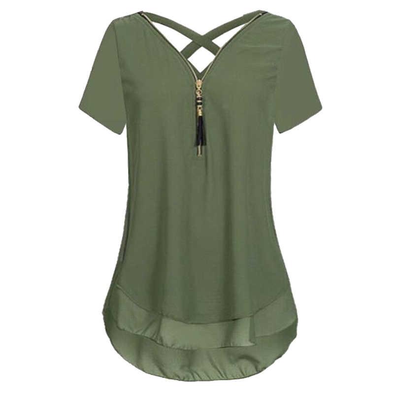 LAAMEI, повседневная женская шифоновая блузка, рубашки, лето 2018, короткий рукав, крестик, рубашки на молнии, Свободный Топ, Blusas, большие размеры, Feminina
