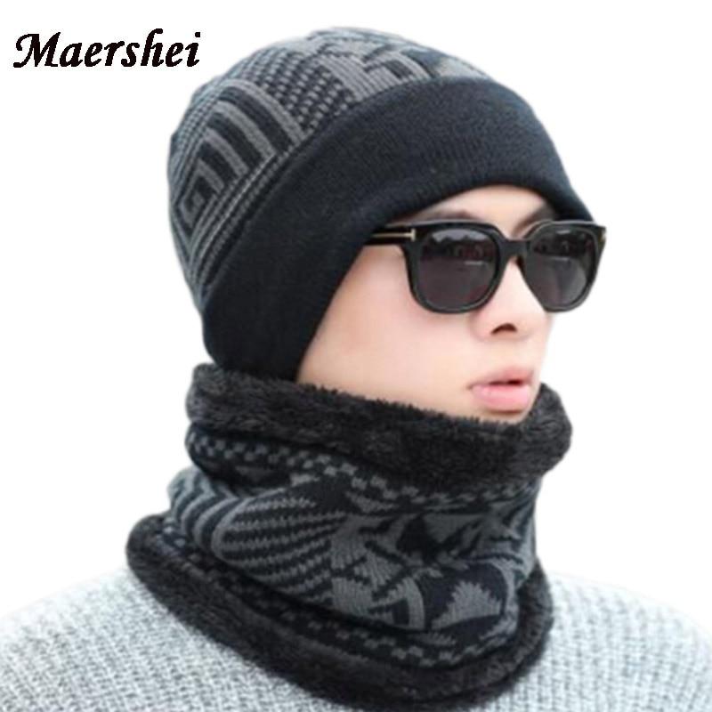 MAERSHEI Neck Warmer Beanie Knitted Winter Hat Men Women Tick Casual Female Scarf Beanies Hats Caps Skullies Bonnet