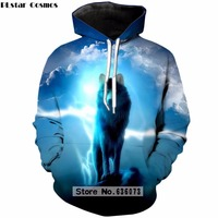 PLstar Cosmos 2018 New Style Hoodies 3d Animal Print Galaxy Space Wolf Sweatshirt Vibrant Pullover Womens