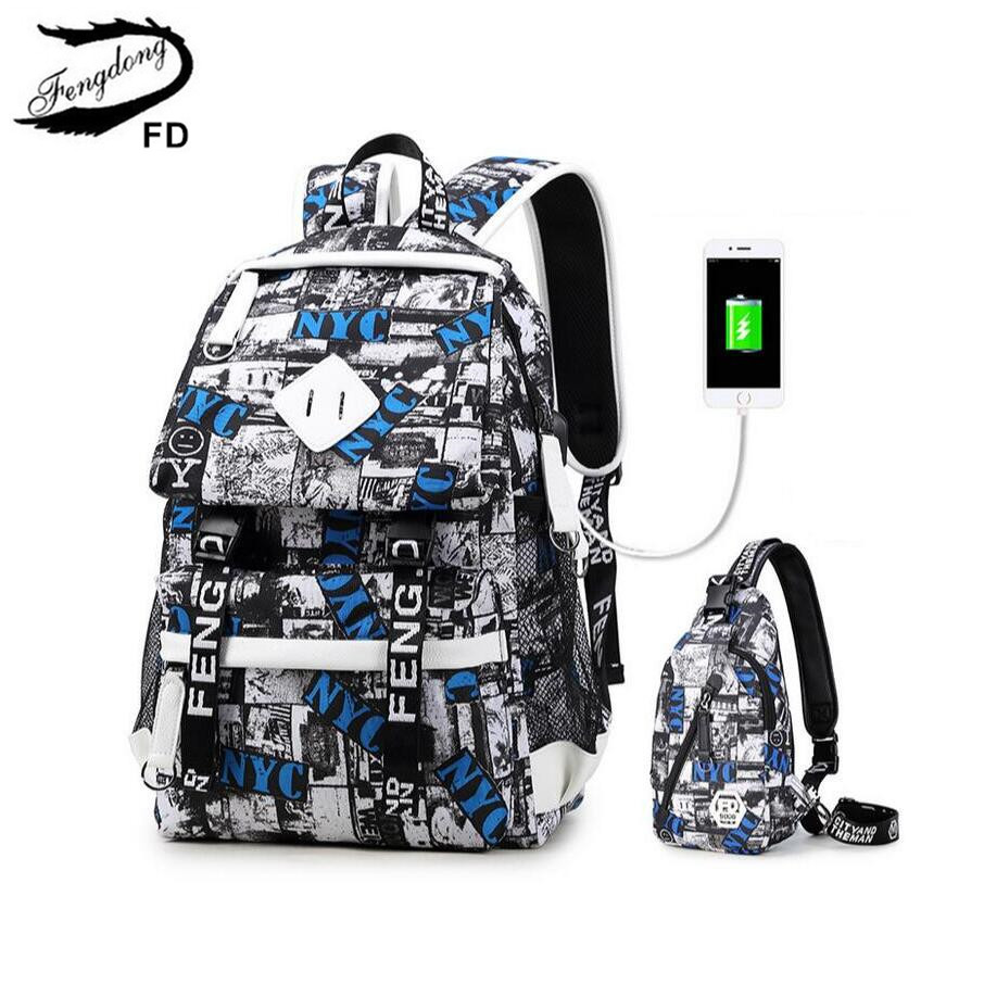 FengDong 2pcs fashion men travel backpack usb port mens chest bag set Waterproof Casual Back Pack male laptop bag 15.6 schoolbag  fengdong men backpack oxford youth fashion brand usb charge designer back pack college bags school bag waterproof backpacks male