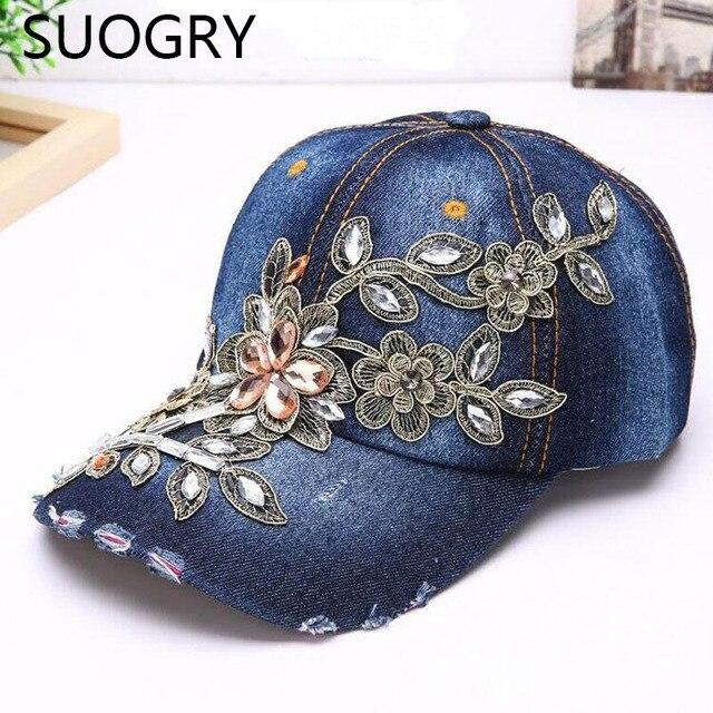 Suogry Wanita Bisbol Cap Diamond Lukisan Bordir Bunga Denim Snapback Topi  Jeans Wanita Cap Cowboy Musim 76395aeeed