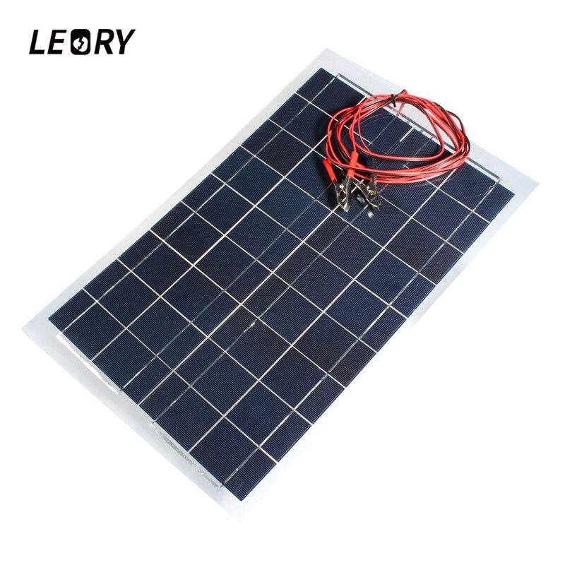 LEORY DIY 18 V 30 W Panneau Solaire 540x350mm Polycristallin Module Solaire Cellules Batterie Chargeur Polyvalent Avec 3 m Fil De Soudage