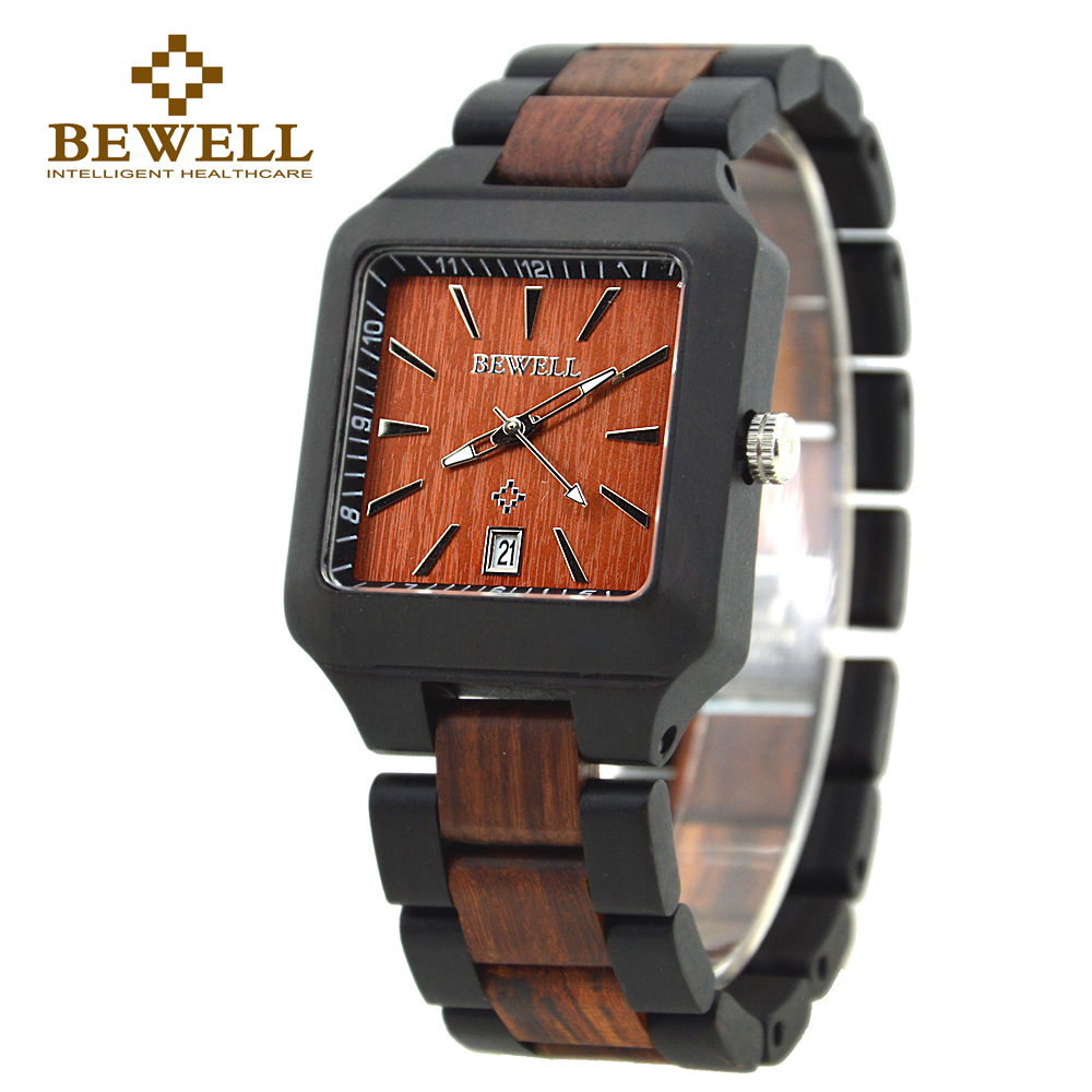 BEWELL Mens Fashion Wood Watch Rectangle For Sale Men  Branded  Wooden Watch Men Auto Date Wristwatch  Relogio Masculino 110A