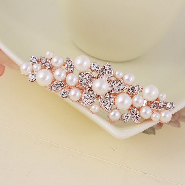 059759d5e17c MISANANRYNE New Rose Gold Color Flower Hair Clips for Women 7 Styles  Simulated-pearl Fashion Rhinestones Elegant Hair Jewelry