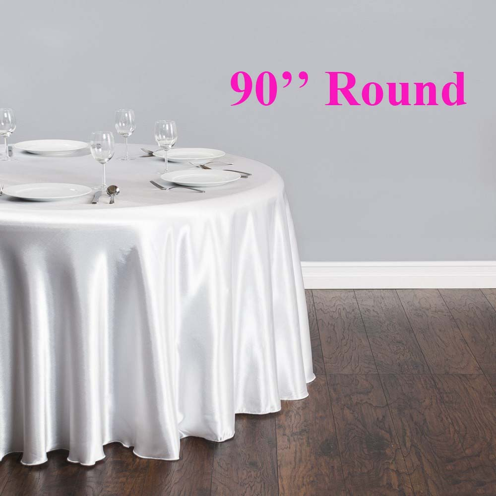 Free Shipping 10pcs 90'' Round Cheap White Satin Table ...