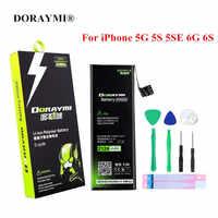 Batterie DORAYMI pour Apple iPhone 5 5G 5 S SE 5SE 6 6G 6 S Batteries de remplacement de téléphone portable Li-ion polymère Bateria outils gratuits