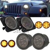 4Pcs Car LED Front Fender Flares Turn Singal Lights 12V LED Side Marker Lamp Bulb Kit