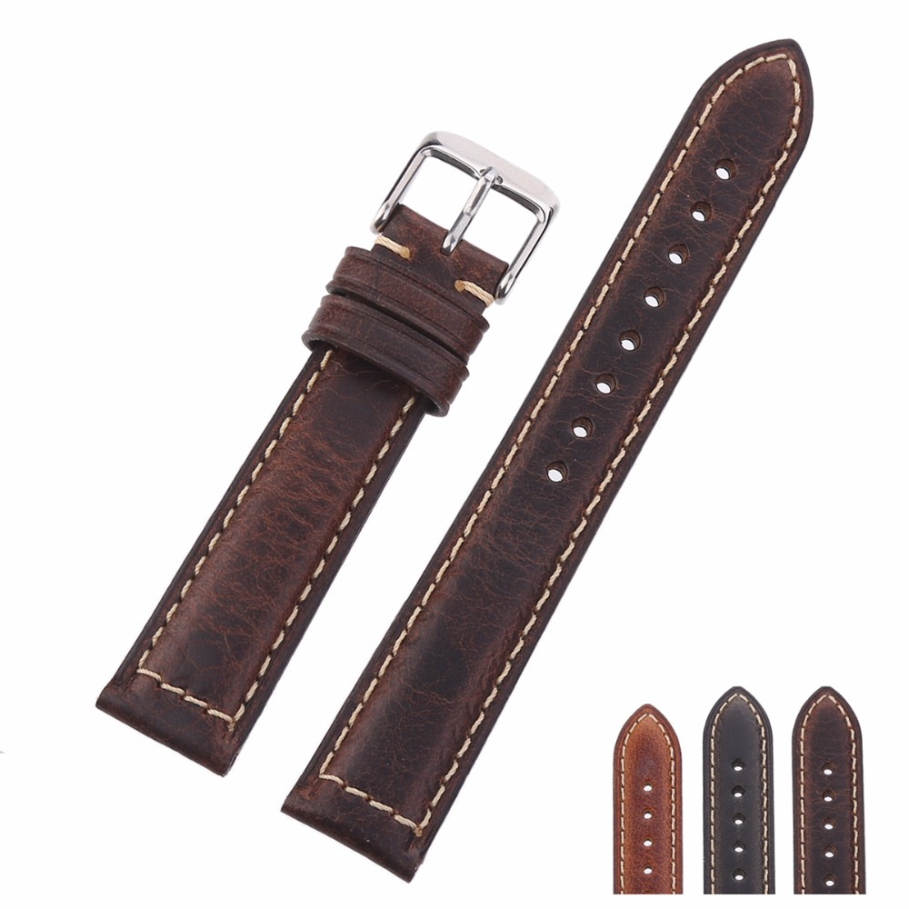 EACHE 18mm 20mm Oil Waxed Genuine Leather Watch Band Crazy Horse Leather Strap Small buckle Silver&Black eache 26mm hand made crazy horse genuine leather replacement watch band strap fit for garmin fenix 3 silver black buckle