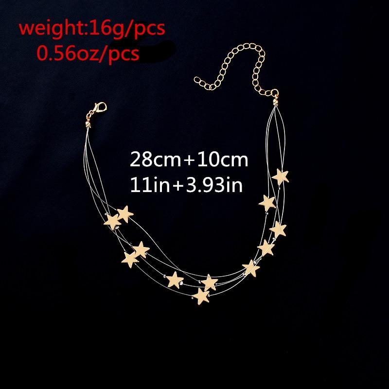 Višestruki slojevi bakra zvijezde privjesak choker ogrlica nakit - Modni nakit - Foto 6