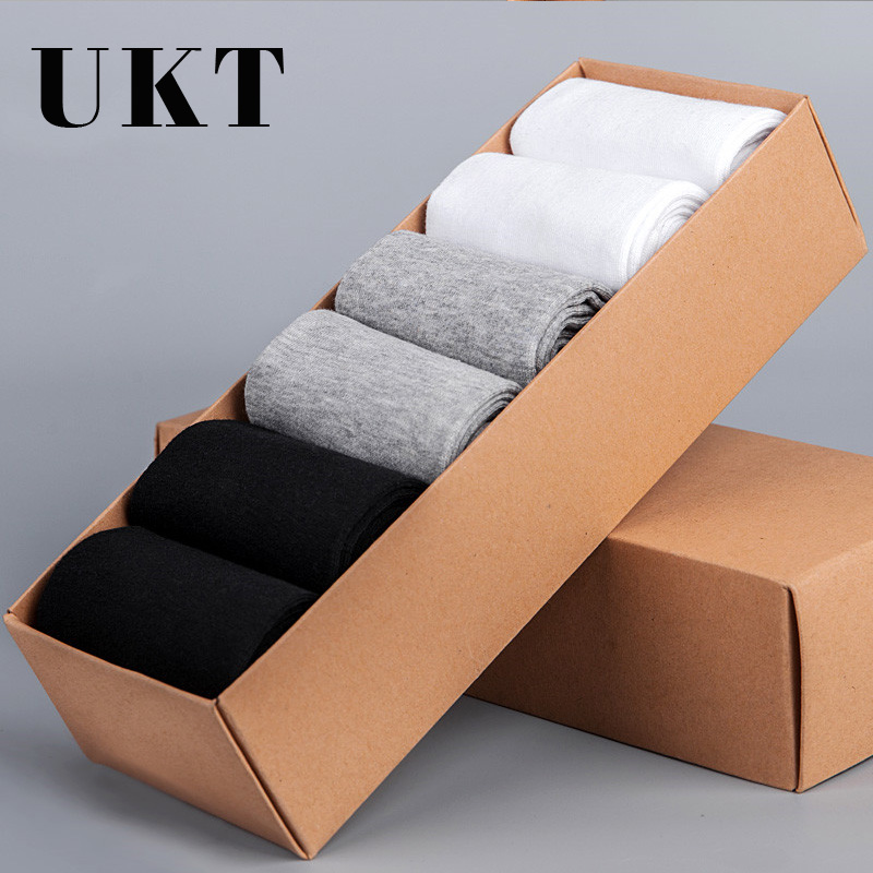 Fashion Socks Men Breathable Business Casual Ankle Mens 100% Cotton Black White Autumn Winter Brand Dress Short Socks 6 Pairs