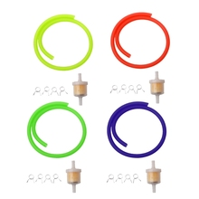 цена на 6mm Gas Fuel Filter Petrol Pipe Hose Line + 4 Clips Moto Scooter Dirt Bike Yellow Red Blue Green Drop shipping 10166