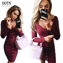 OOTN Casual sheath solid long sleeve trend women dress sexy low-cut button o-neck autumn&winter fashion club knitted mini dress