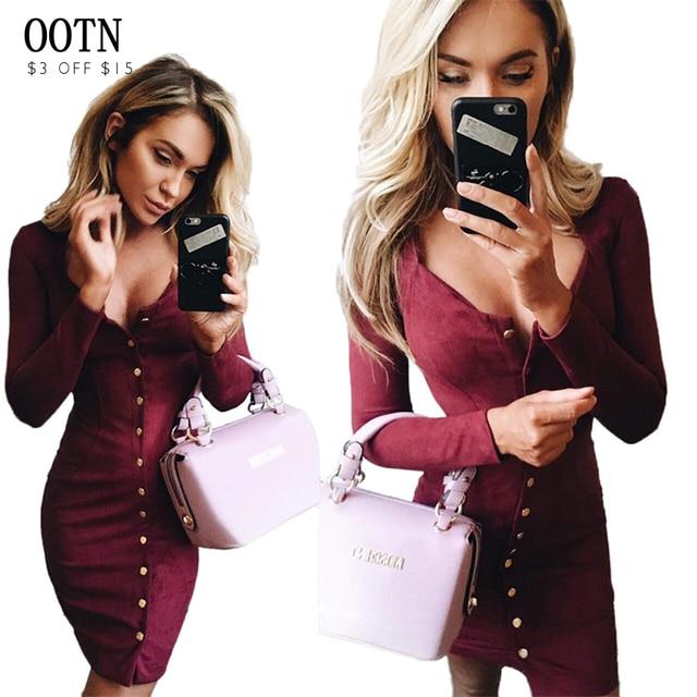 Ootn vaina casual dress sexy de corte bajo de tendencia de las mujeres de la manga larga sólida botón o-cuello de otoño e invierno de moda del club punto mini dress