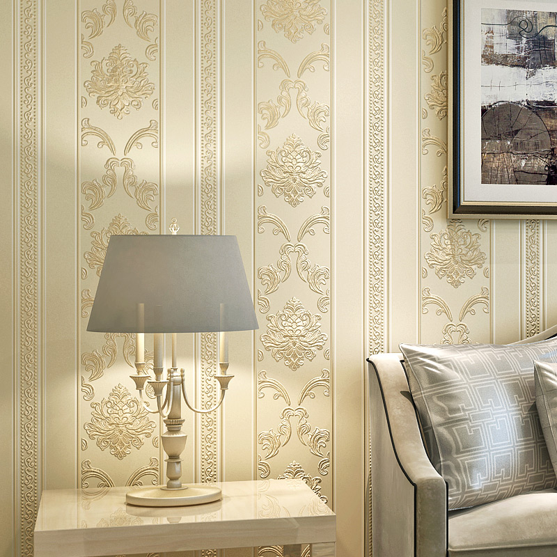 European Style Damask Vertical Striped Non-woven Wallpaper Wall Covering Living Room Bedroom Background Wall Papel De Parede 3D