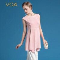 VOA 2018 Лето милый розовый тяжелый шелк короткая однотонная длинная футболка с круглым вырезом простые элегантные без рукавов тонкие женские