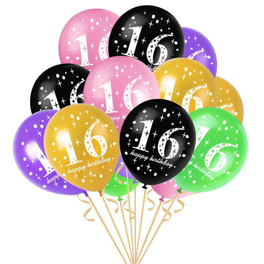 10pcs 16th Birthday Printed Latex Balloons Party Decorations Balloon Age 16 Year Old Anniversary Happy