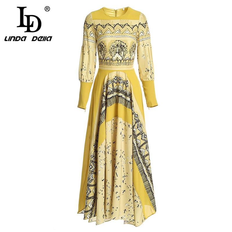 LD ليندا ديلا جديد الخريف أزياء المدرج اللباس المرأة طويلة الأكمام عارضة المطبوعة عطلة اللباس vestidos-في فساتين من ملابس نسائية على  مجموعة 1