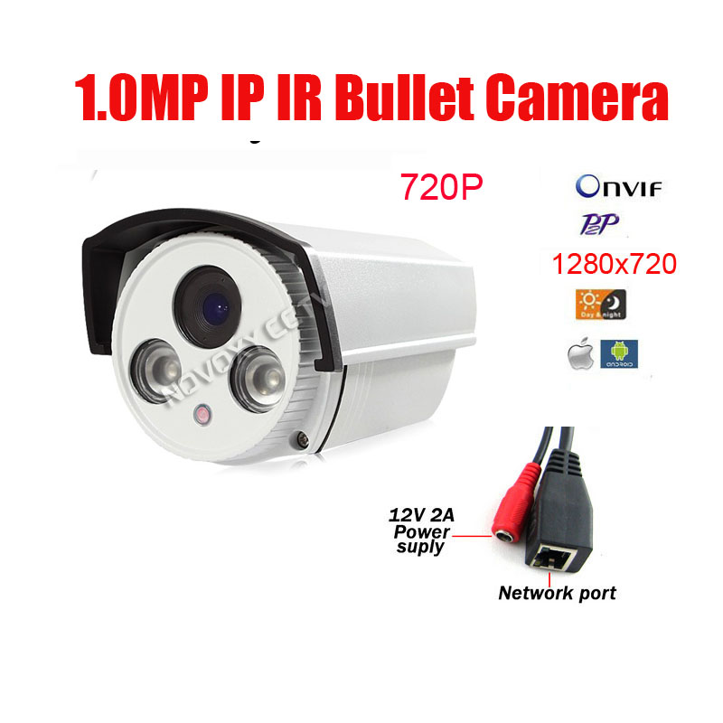 Free Shipping 2 Array Led 1MP 720P HD IP Cam CCTV IP Camera Outdoor Infrared Night Vision IR Bullet Box Camera outdoor 720p ip camera hd wireless wifi array ir night vision bullet onvif waterproof cctv security ip 1mp network web camera