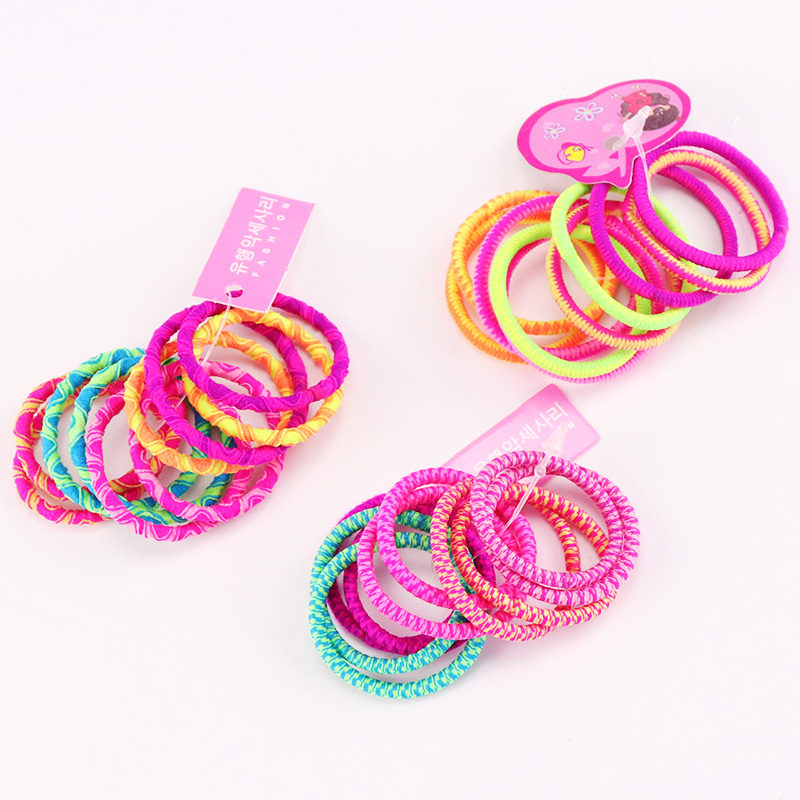 10PCS/Lot WholeSale Girls Hair Band Colorful Cute Elastic Rubber Bands Kids Hair Ropes Ponytail Holder Tie Gums Hair Accessories new 10pcs women lady hair band velvet elastic ponytail tie bow rubber bobbles lovely