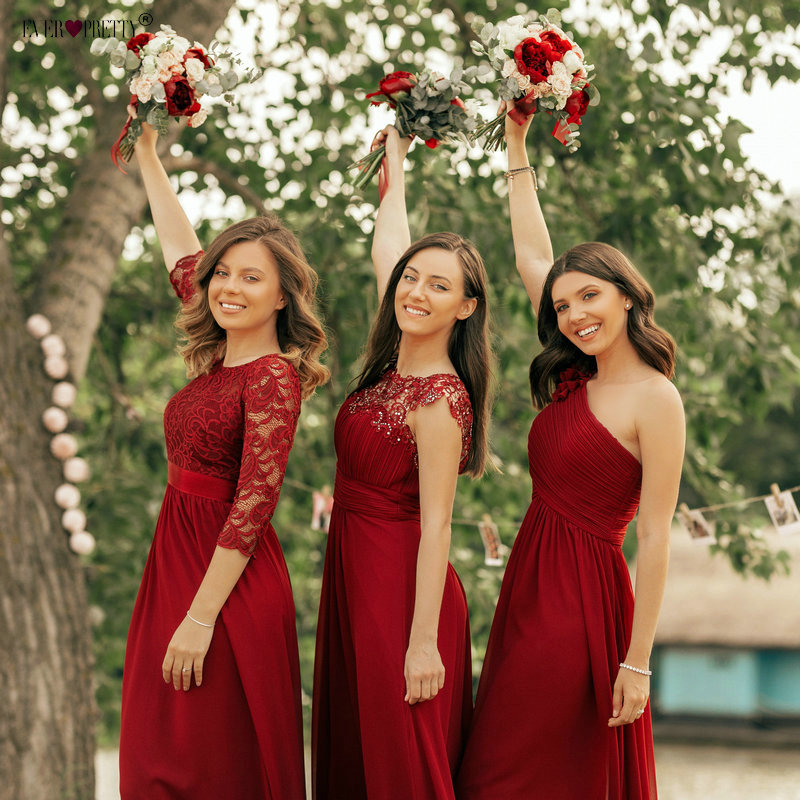 אי פעם די בורגונדי שושבינה שמלות ארוך שיפון Applique זול מקיר לקיר אורך חתונת שושבינה שמלת צד פורמלי שמלות
