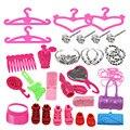 BBGUN001-42 Pçs/lote Sapatos Sapatos de Boneca Da Moda + Coroa + Cabide Acessórios para Bonecas Barbie Roupas Bonecas BJD DIY acessórios