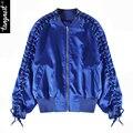 Tangnest mujeres chaqueta de 2017 resortes de la manera de lace up zipper loose cuello alto estilo streetwear wwj800