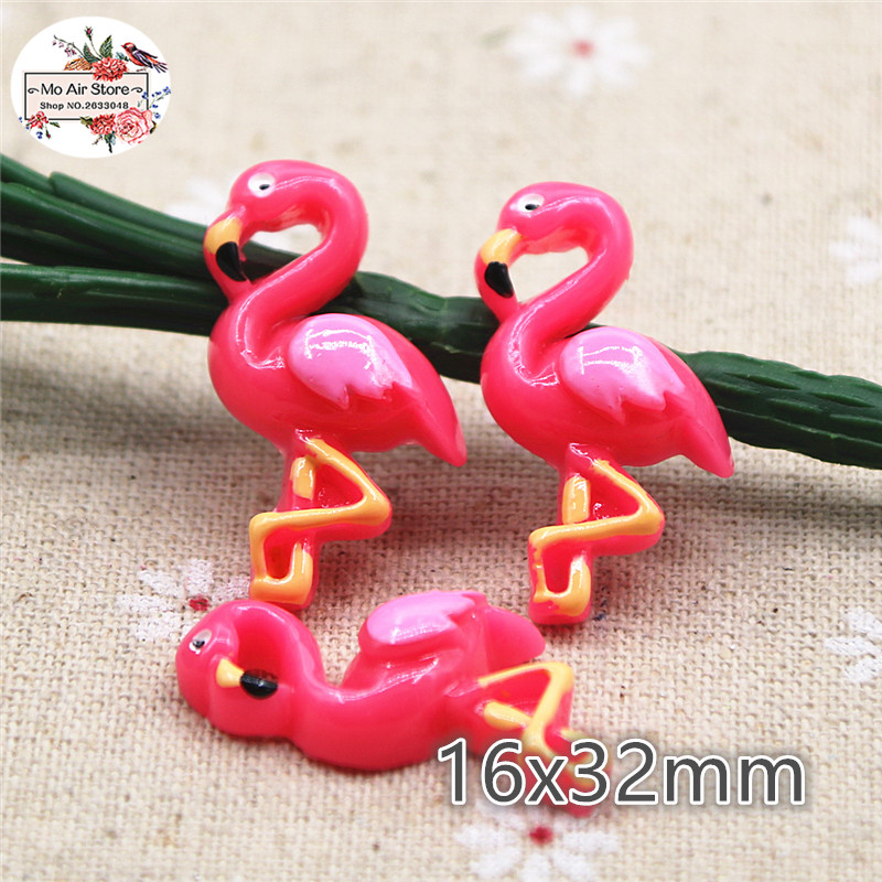 10pcs Resin Flamingo Flat Back Cabochon Art Supply Decoration Charm Craft Hair Bow Center