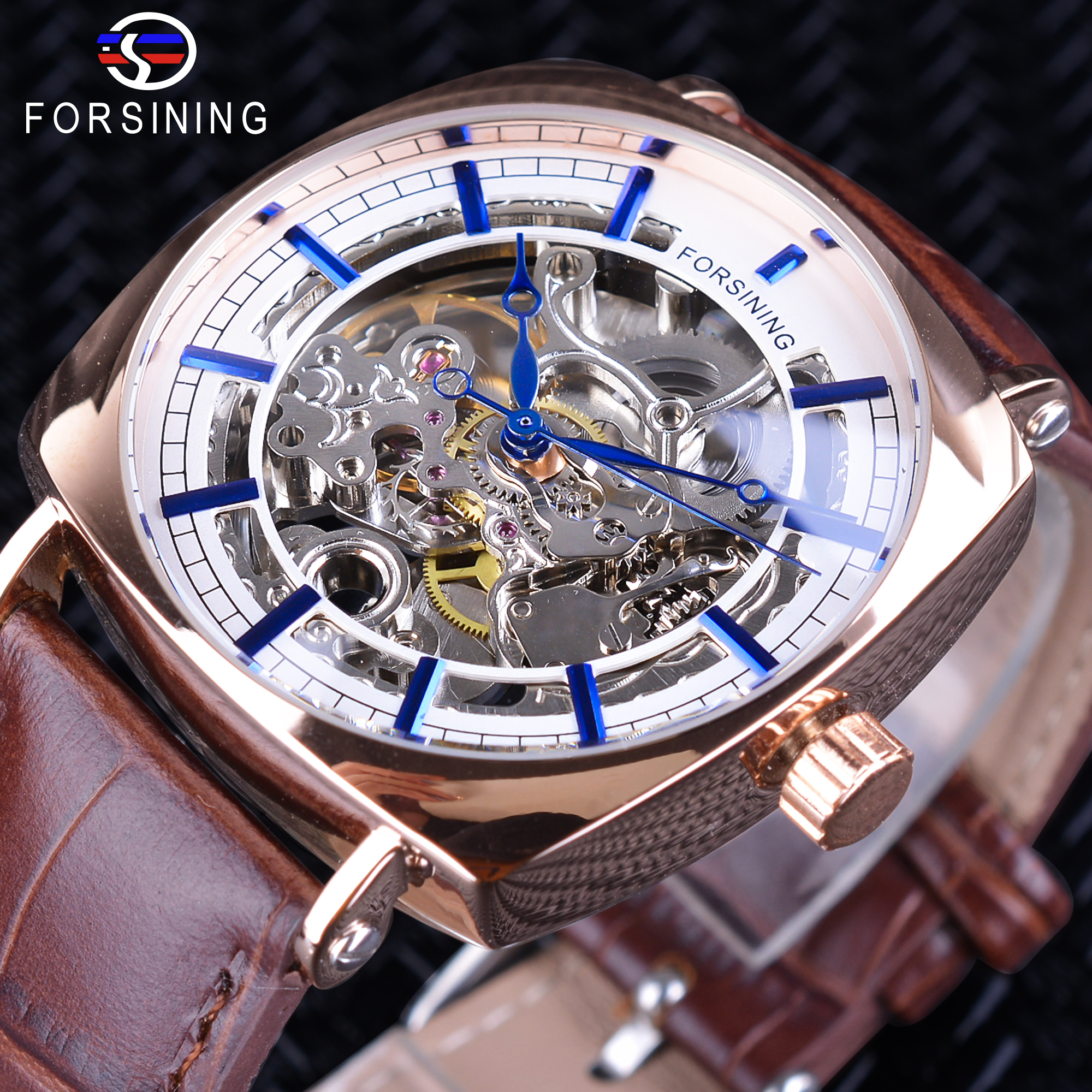 Forsining Brown Genuine Leather Fashion Blue Hands Design Square Case Men's Watch Top Brand Luxury Automatic Mechanical Watches forsining classic series black genuine leather strap 3 dial 6 hands men watch top brand luxury automatic mechanical watch clock
