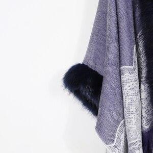 Image 4 - 2020 Winter Foulard Women Poncho With Fur Collar Floral Female Cashmere Shawls Scarf Jacquard Skill Warm Pashmina Poncho Tassel