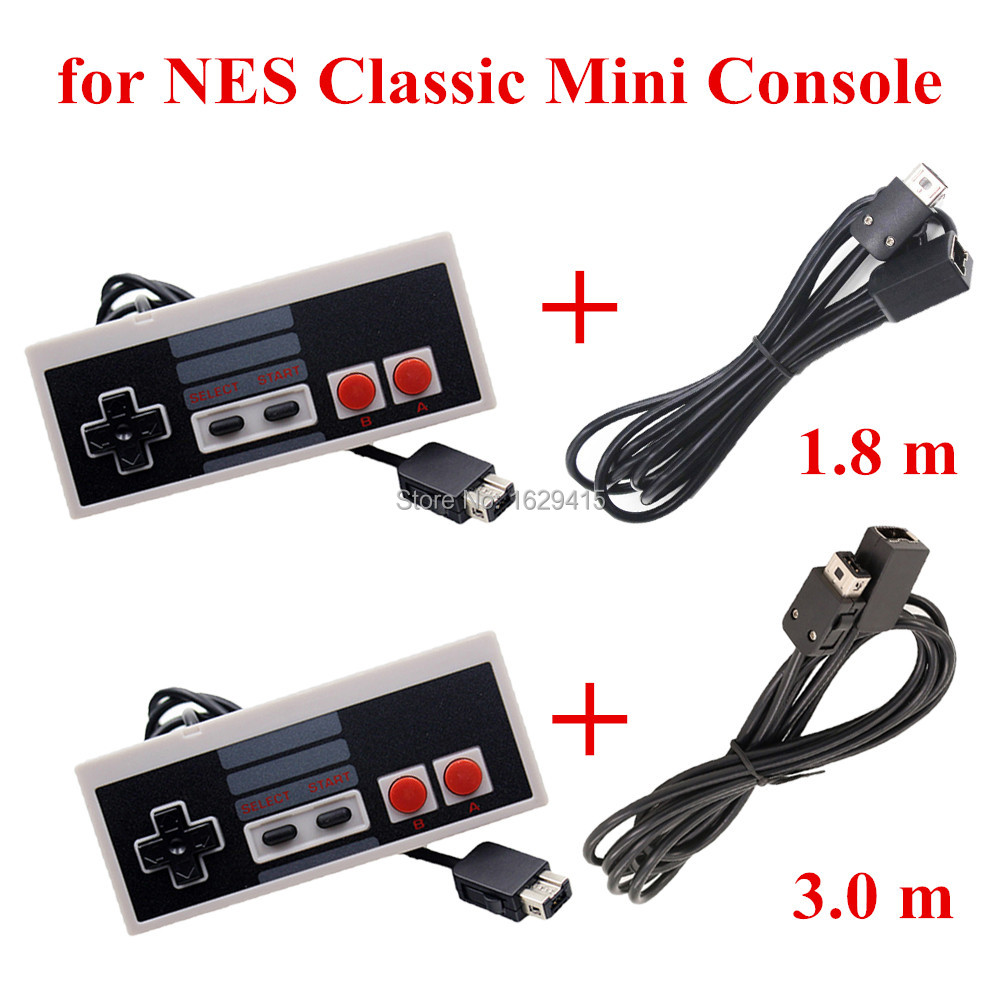 IVYUEEN For NES Classic Mini Underholdningssystem Console Controller Gamepad med 1,8m / 3,0m 10FT Extension Cable Cord