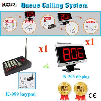 Order Taking Services System Wireless Queuing Pager For Restaurant With CE Passed(1 display+1 transmitter keypad)