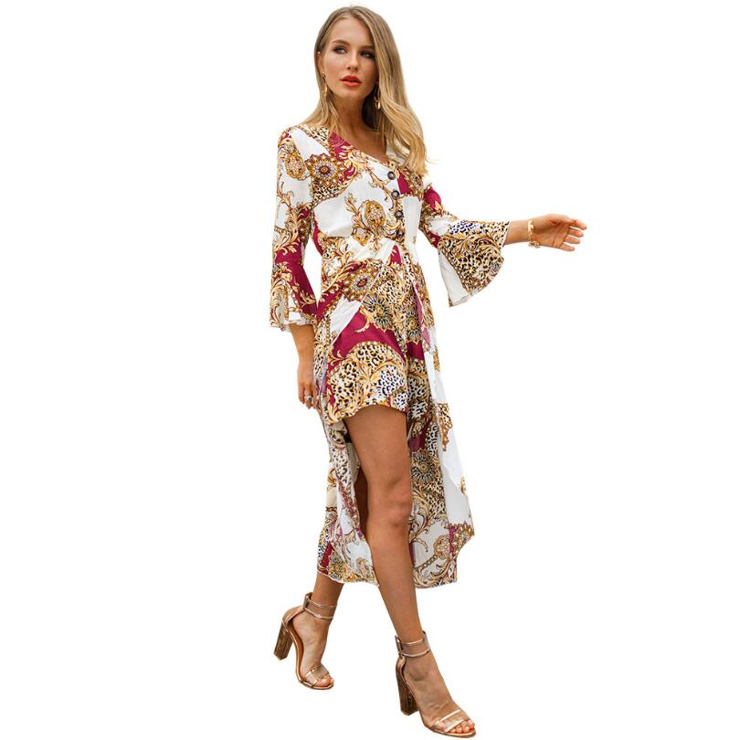 72a05289d138 Sexy V Neck Button Print Jumpsuit Women Romper Fashion Half Flare Fleeve Playsuit  Casual Femme 2019 Hot Elegant Overalls Mujer -in Rompers from Women s ...