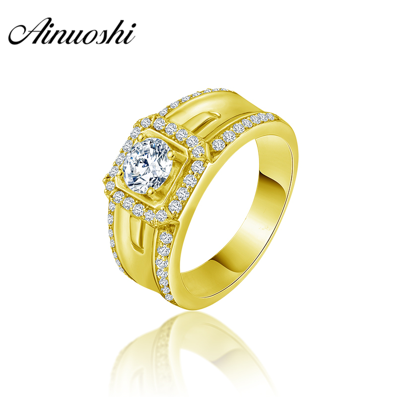 AINUOSHI 10K Solid Yellow Gold Men Ring Rows Drill Square Halo Ring Engagement Wedding Male Jewelry 5.7g Exquisite Wedding Band цена и фото