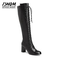 Sexy Cruz Atados Cuadrados Tacones Altos Rodilla Botas Fácil Caminar Botas de invierno Femeninos de Cuero Genuino Mujer Zapatos de Suela De Goma 2018 nueva