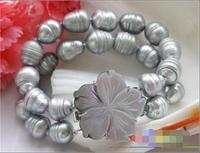 FREE SHIPPING HOT sell new Style >>>>2row 8 15mm rice Screw gray freshwater cultured pearl bracelet