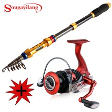 Sougayilang 1.8-3.0M Telescopic Rod and 13+1BB Reel Set Bass Hard Fishing Rod of 99% Carbon Materials Carp Fishing Combo Kit