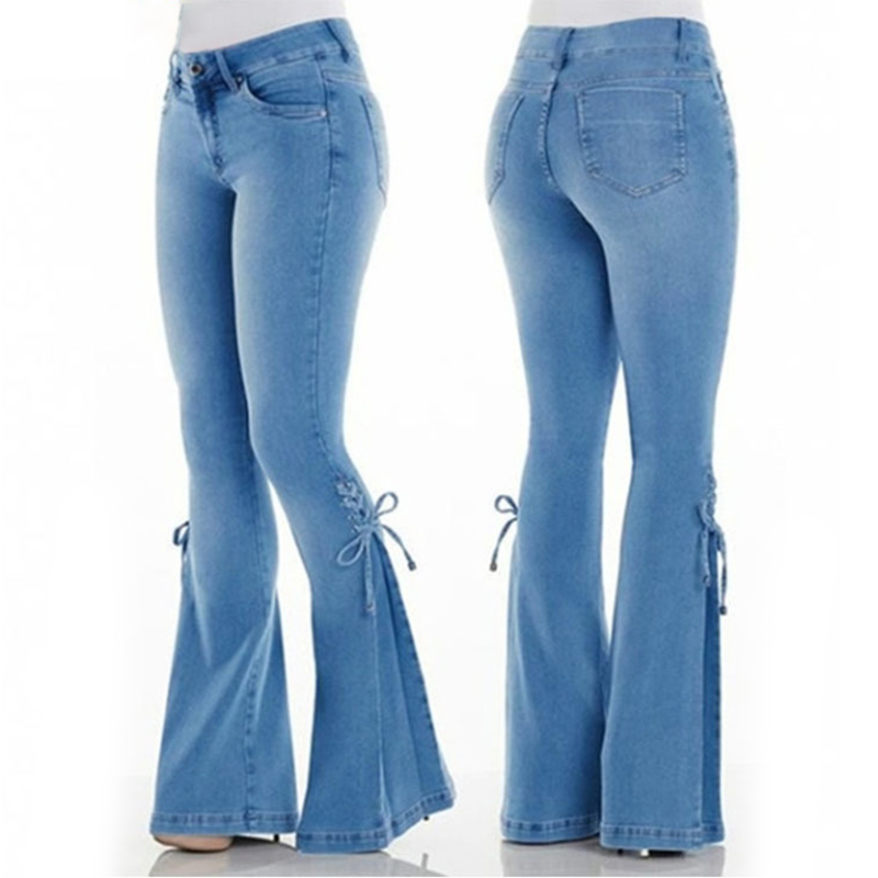 New Ladies Mid-Waist Belt Plus Size Stretch Jeans Female Washed Denim Stretch Micro Bell Bottom Jeans Casual Fashion Jeans 4xl