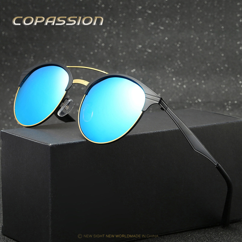 New Round Polarized sunglasses Women Men brand designer metal steampunk goggles uv400 Sun glasses Male Eyewear oculos de sol
