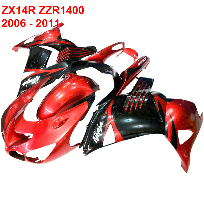 For Kawasaki Ninja ZX14R ZZR1400 2006 2007 2011 red fairing kit Injection molding Fairings xl06